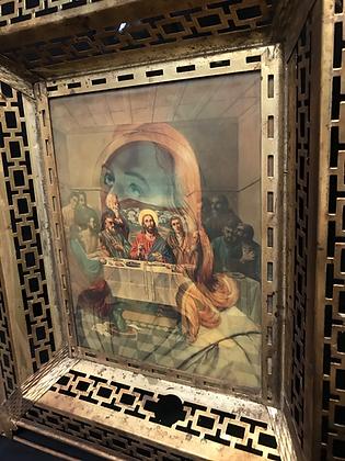 Vintage JESUS Lenticular Hologram Filagree Brass Frame