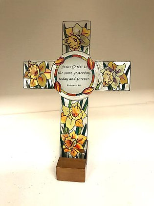 Painted Amia Glass Cross with Wooden Stand
