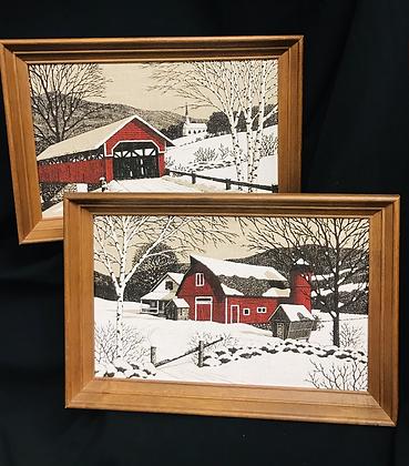 2 Kay Dee Vintage Framed Winter Prints on Linen