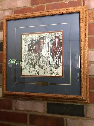 Framed Bev Doolittle Two Indian Horses
