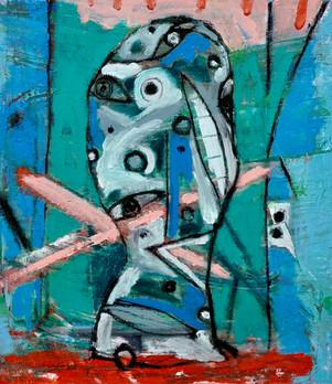 "Tabletop Head      16 x 14 x 1""       oil on canvas    2018"