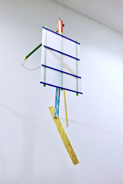 """Avatar   75 x 26 x 29"""" wood, corrugated plastic, paint, wire, and screws 2019"""