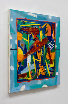 "Orange Grip   30 x 25 x 1.25""       oil on canvas     2018"