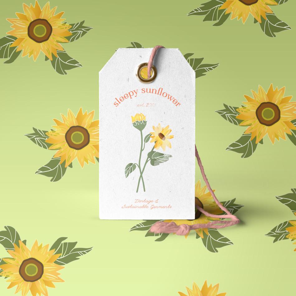 Sleepy Sunflower Tag