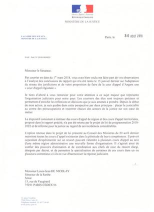 Lettre du Ministère de la Justice concernant la cour d'appel d'Angers