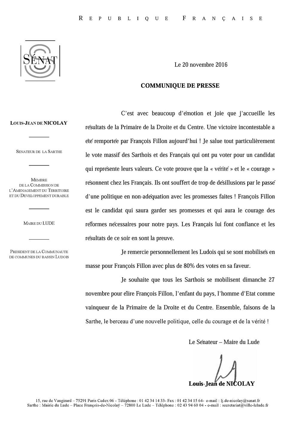 Communiqué de presse François Fillon