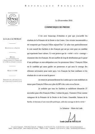 Communiqué de presse sur les résultats de la Primaire de la Droite et du Centre