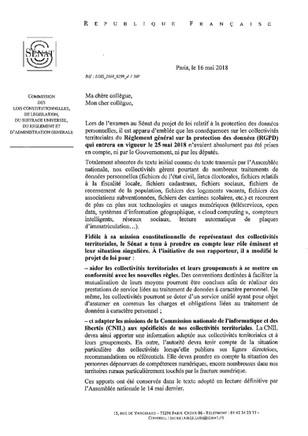 Protection des données personnelles : Conséquences du RGPD - Courrier d'information de M. Bas et