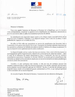 Associations : recrutement ponctuel des salariés : réponse de Madame la Ministre à mon courrier