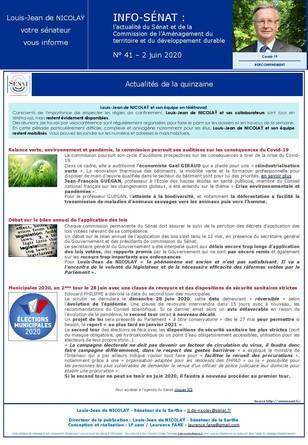 Lettre info de la commission d'aménagement du territoire et du développement durable  n° 41