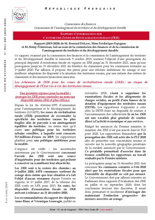 Zone de Revitalisation Rurale (ZRR) : Rapport d'information (Sénat)