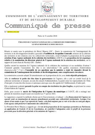 Rapporteur au sénat pour la PPL sur la création d'une Agence Nationale de la Cohésion des Territ