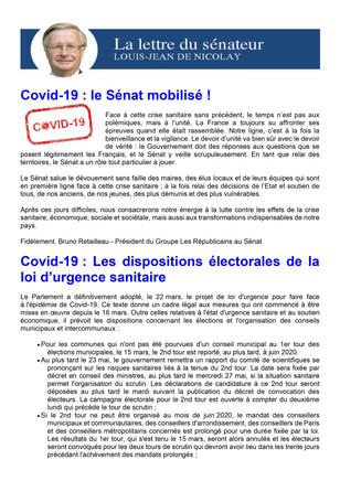 Newsletter Mars 2020 dédiée au COVID19