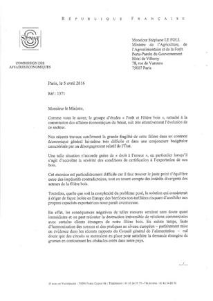 """""""Forêt et Fillière bois"""" Courrier co-signé de MM. Jean Claude LENOIR et Philippe LEROY à M"""