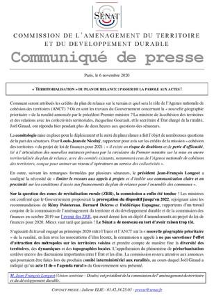 « TERRITORIALISATION » DU PLAN DE RELANCE : PASSER DE LA PAROLE AUX ACTES !