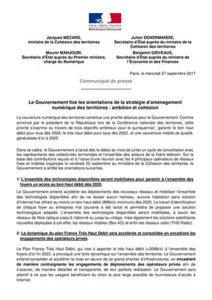 Communiqué de presse du Ministère de la cohésion des territoires sur la couverture mobile et interne