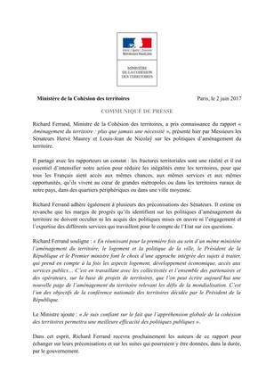 Réaction du Ministre Richard Ferrand à la lecture de notre rapport sur l'aménagement du territoi