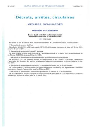 Nomination  membre du Conseil national de la sécurité routière (CNSR)