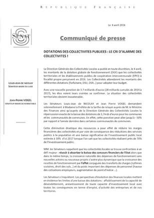 Communiqué de Presse sur la DGF!
