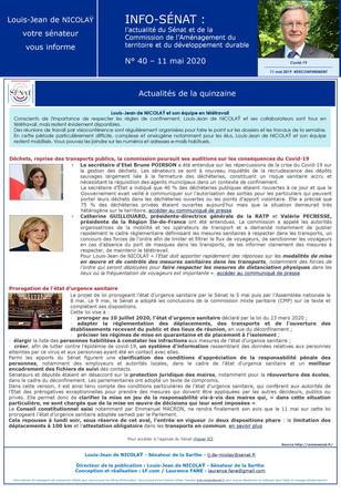 Lettre info de la commission d'aménagement du territoire et du développement durable  n° 40