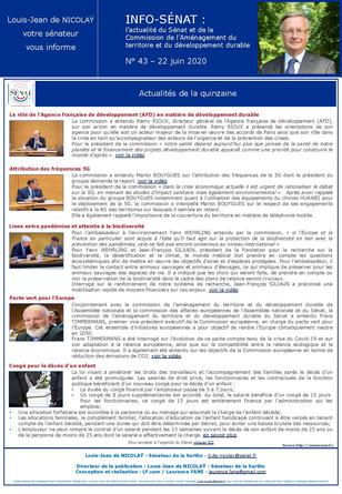 Lettre info de la commission d'aménagement du territoire et du développement durable  n° 43