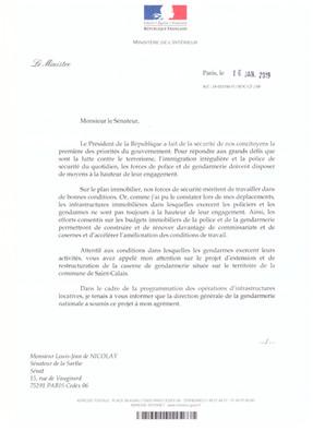 Courrier du Ministre C. Castaner sur le projet immobilier de la gendarmerie de St Calais