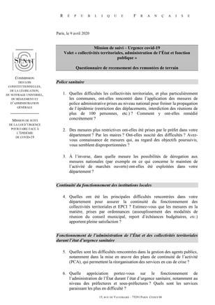 Questionnaire aux élus locaux face au COVID-19