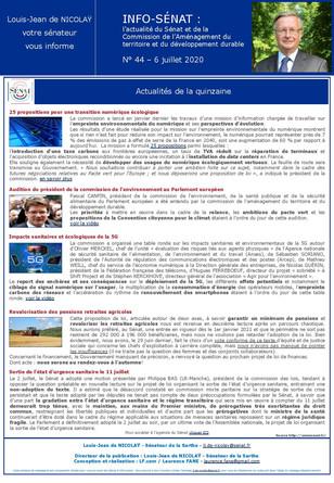 Lettre info de la commission d'aménagement du territoire et du développement durable  n° 44