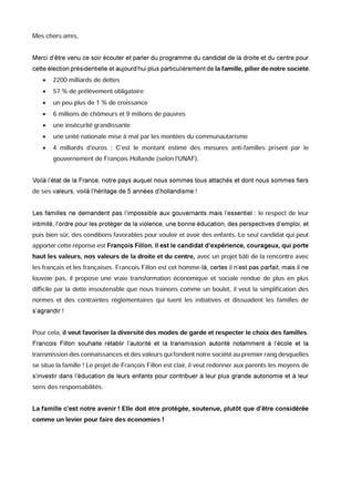 Mon discours lors de la réunion autour du Projet Famille de François Fillon