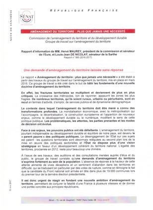 Rapport  du Groupe de travail sur l'aménagement du territoire
