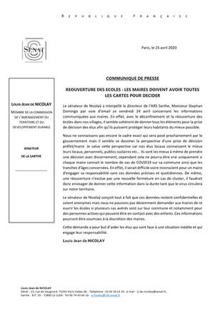 Communiqué de presse et réponse : demande à l'ARS de transmettre les données COVID19 aux maires