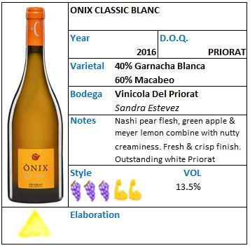 ONIX Classic Blanc Vinicola del Priorat.