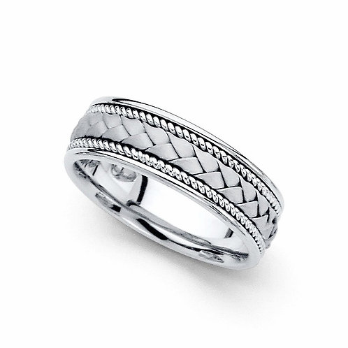 14k White Gold Ladies 6-mm Hand-braided Comfort-fit Wedding Band