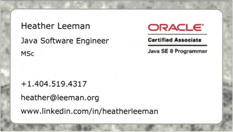 Heather Leeman, Java Software Eng.