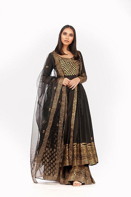 Black Angrakha Anarkali