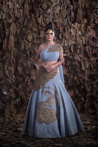 Shruti S peacock gown grey.jpg