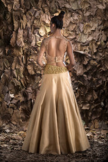 Shruti S one sleeve lehenga gold.jpg
