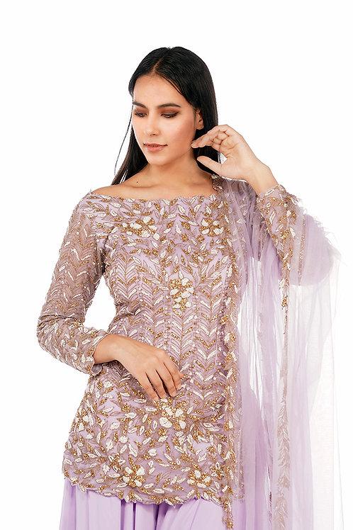 Bateau neck Lavender Sharara