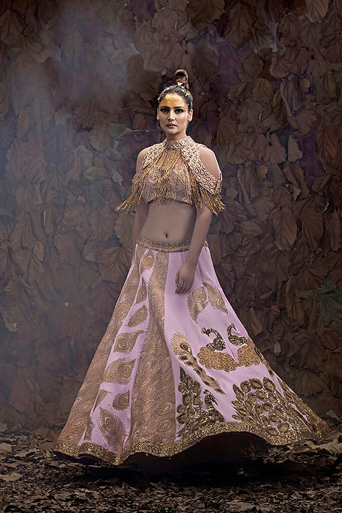 Peacock Lehenga with Tasseled Cape