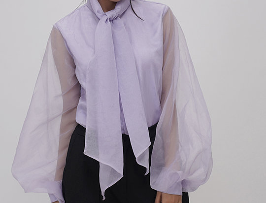 Organza shirt with neck tie