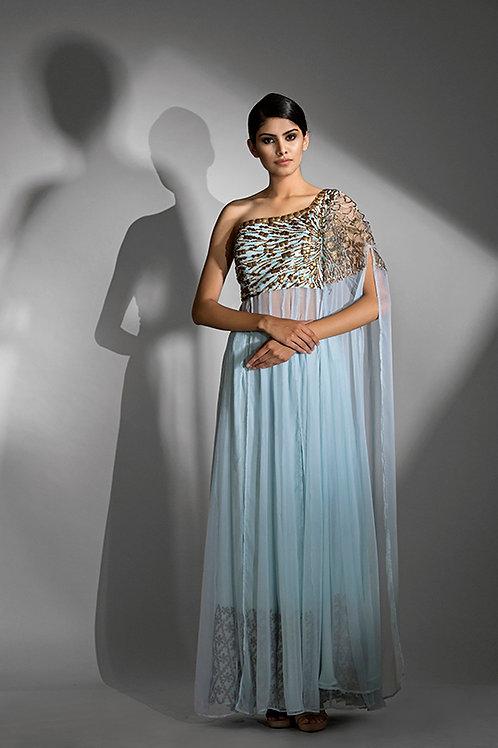 One shoulder cape-sleeve dress