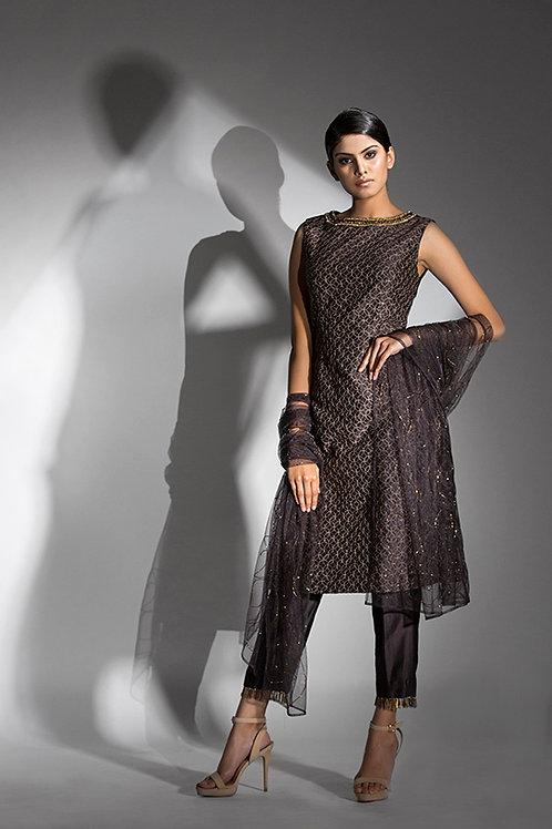 Zari work kurta with tassled trousers