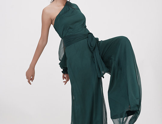 Jumpsuit One-shoulder, Teal