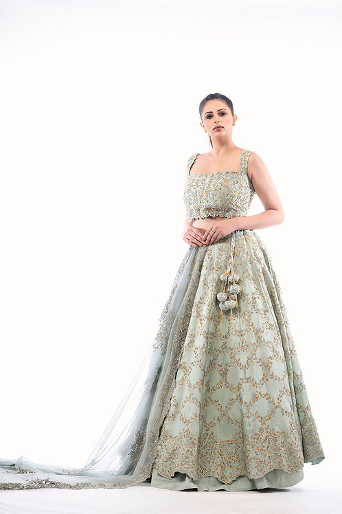 Silver & gold Work Lehenga in Pista Color