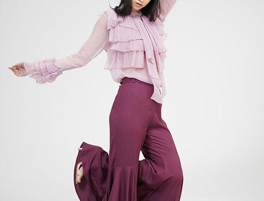 Pink Chiffon Ruffled shirt