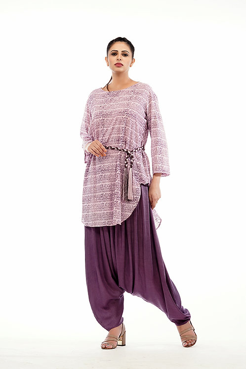 Drop-crotch pants with Hand printed cotton kurta