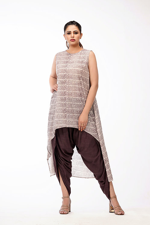 Dhoti salwaar with Hand printed cotton kurta