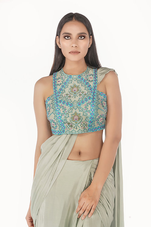 Racer Blouse with Draped Saree