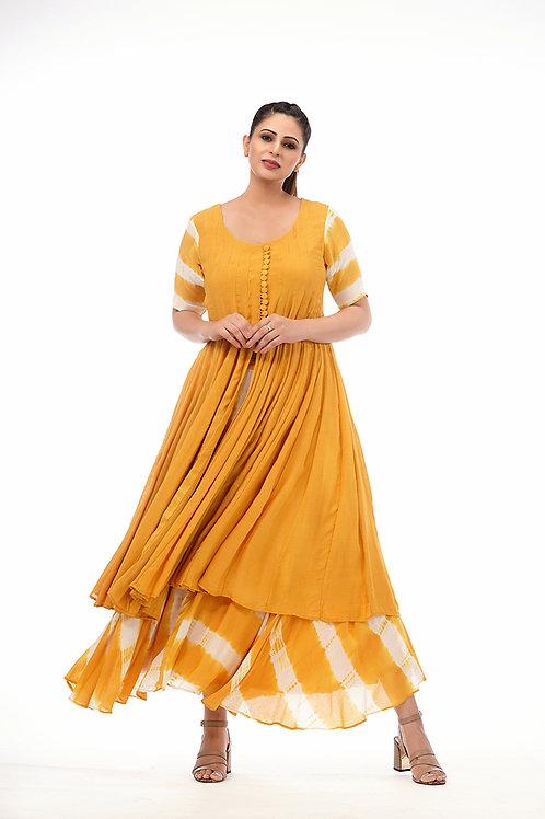 Tie-dye Kalidaar kurta with skirt