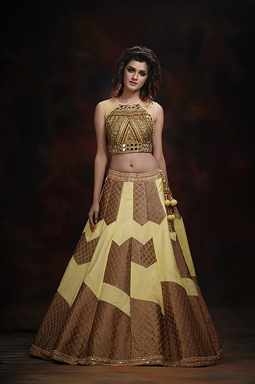 Check Embroidery lehenga with mirror work blouse